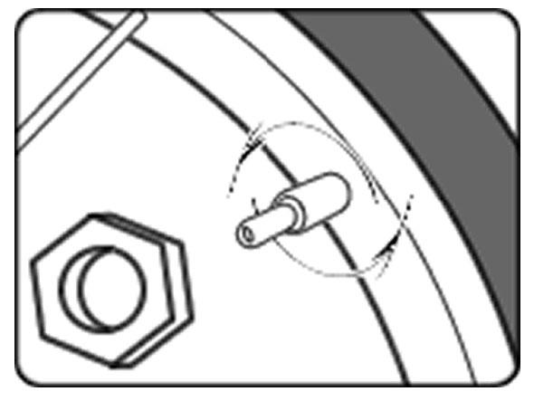 自転車のパンク修理方法①:チューブを取り出す 1.タイヤの空気を抜く