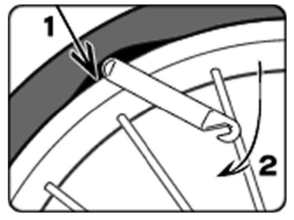 自転車のパンク修理方法①:チューブを取り出す 2.タイヤとリムの間に隙間を作る