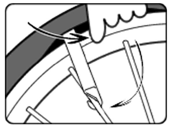 自転車のパンク修理方法①:チューブを取り出す 3.レバーを使ってタイヤをはずす