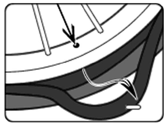 自転車のパンク修理方法①:チューブを取り出す 4.チューブを引っ張り出す